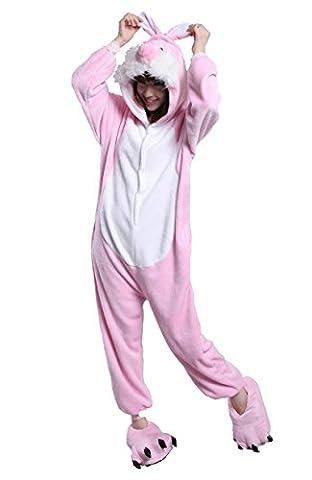 Honeystore Neu bezaubernd Rosa Hase Pyjamas Trickfilm Cosplay Kostüm Erwachsene Siamesische Kleidung (Gute Halloween-kostüme Für Gruppe 3)