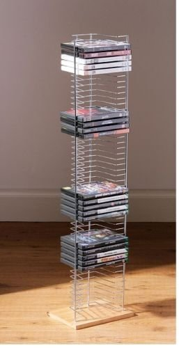 Wood Base 50 DVD Tower Free Standing Heavy Duty DVD rack Media Storage Unit FOR DVD XBOX PS3 PS4 Games Plays Station Games by OTZ (Bücherregal Holz-finish)