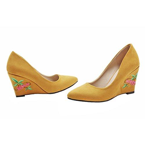 Chaussures Glisse De Femmes Coin Talons Sur Fait Jaune Occasionnel Chaussures Daim Broderie ENMAYER Cétro Le Ytgwqd0