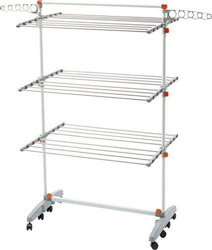 idee Premium Quality Foldable Rolling 8-Wheels Clothes Laundry Drying Rack (Newer Version of Badoogi BDP-V12), (Hanging Rack)