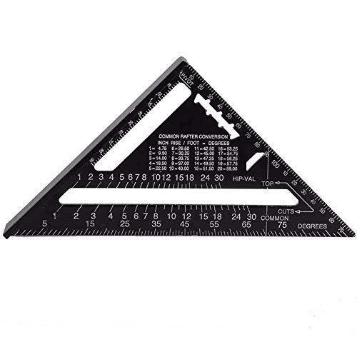 Dreiecks-Lineal metrisch/britisches System Zimmermannsmessung, Aluminiumlegierung, Messwerkzeuge, Tri-Quad, Winkelmesser, Schnurschneider und Sägeführung, alles in einem Werkzeug - Black 7 Inch