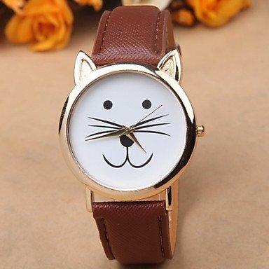 Fenkoo Kitty passen Frauen UHREN Katze Uhr-Armbanduhr-Leder-Uhr-Weinlese-Uhr Schmuck Zubehör