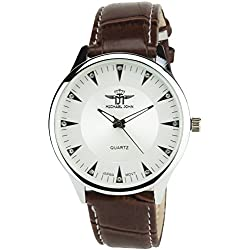 Men's Watch MICHAEL JOHN SILVER Quartz Steel Case - Analogue Display Band FAUX LEATHER BROWN