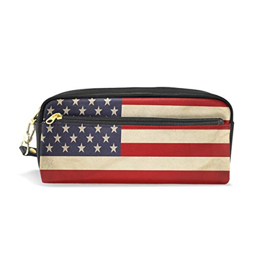 Estuche para lápices, diseño de la bandera de Estados Unidos, bolsa de maquillaje de viaje, gran capacidad, impermeable, de piel, 2 compartimentos, el mejor regalo de Halloween para niños y niñas