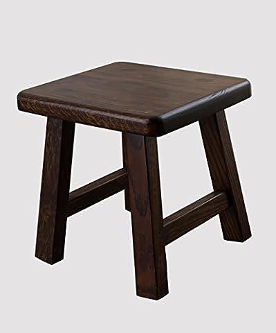 WUFENG Portable Nature Rubberwood Rectangle Tabouret Petit banc, couleur bois, couleur noyer noir, 27 * 24 * 27cm ( Couleur : Black walnut color )