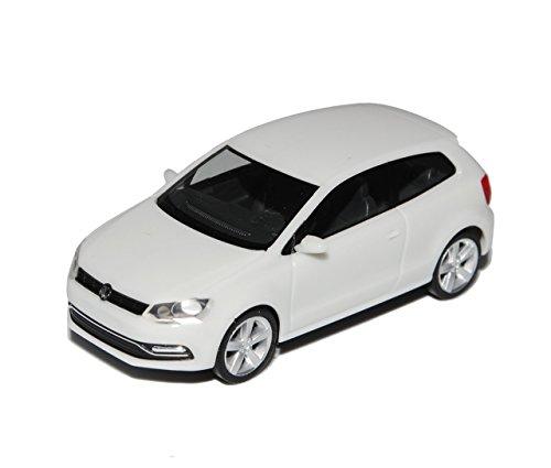 VW Volkswagen Polo Weiss 3 Türer Modell Ab 2009 Ab Facelift 2014 V Typ 6C H0 1/87 Herpa Modell Auto mit individiuellem Wunschkennzeichen