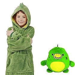 Neue Hoodie Decke Kinder, 2 in 1 Sweatshirt Decke und Kissen Tier süße warme Bequeme Plüsch Dicke TV-Sofa mit Kapuze Decken mit Ärmeln Robe Nachtwäsche für Kinder Mädchen Jungen