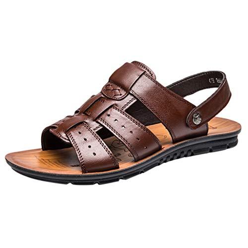 Mosstars Sandalias y Zapatillas de Hombre Zapatillas de Playa Cuero Transpirable Moda Hombres Diapositivas Zapatillas de Exterior Chanclas Sandalias Sandalias Hombres Verano