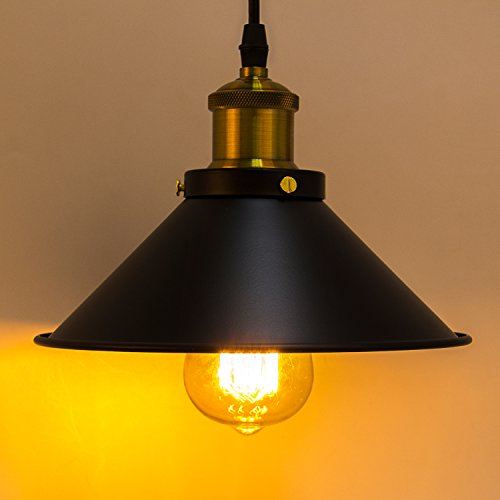 Métal Retro Suspensions Luminaires Industrielle Vintage Plafonniers Lustre Edison Culot E27 Eclairage de Plafond Suspensions Plafonniers Luminaire- Noir