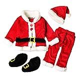 Blaward Baby Bekleidung Säugling Weihnachtsmann kostüm Sankt Weihnachten Strampelhöschen Lange Ärmel Tops + Plüschanzug Hosen + Hut + Socken Weich Rot Outfit Set Kostüm 4 Stück