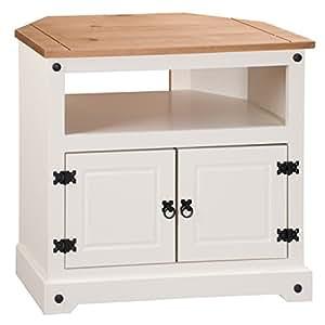 Mercers Furniture Corona Painted Corner TV Unit - Cream/Brown