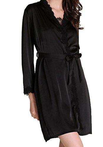 URqueen Women's Silky Gorgeous Loungewear Robe 2PC Sleepwear Set Black