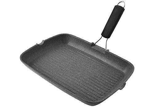 H&H 8003512576973 Poêle Grill rectangulaire en Aluminium pour Induction Manche en Silicone Noir 36x26 cm