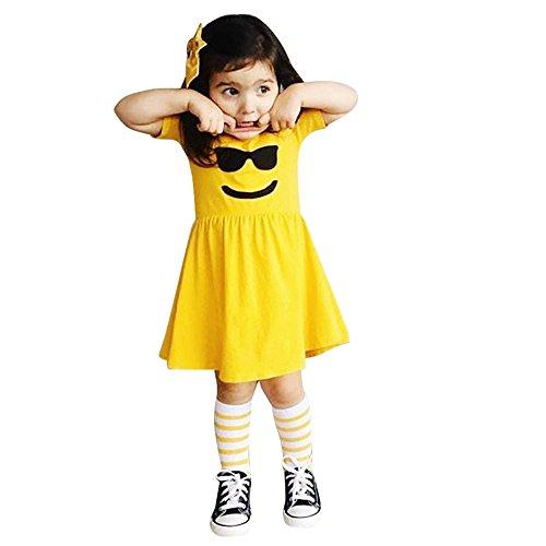 Smiley Kleinkind Kostüm - Kindermode Kleider,Kinder Kostüm Baby Mädchen Kleidung Prinzessin Ausdruck Pack Smiley Kurzarm Kleinkind Kleinkind Kinder Emoticon Sun Shirt Outfits Ostergeschenk Festliche Kleider(Gelb,110)