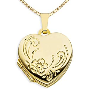 Medaillon Doppelmedaillon Herz Hochglanz Ornament verziert 333 Gelbgold 8 Karat Gold zum öffnen für Bildereinlage 4 Fotos Amulett Verzierung von Haus der Herzen® mit Schmuck-Etui