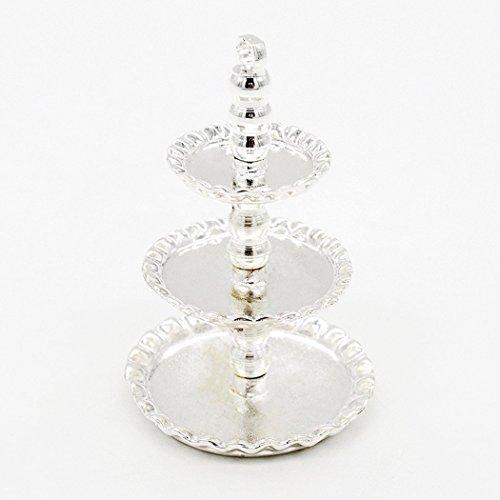 Odoria 1/12 Miniatur Geschirr 3-Tiered Servierplatte Früchte Kuchen Desserts Platte Ständer Silber Für Puppenhaus Küche Zubehör