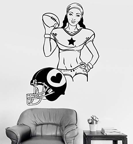 xinyouzhihi Mädchen Helm Wandkunst Ticker Für Port Mädchen Zimmer Frauen American Football Port Vinyl Wandtattoo Remo57x81cm