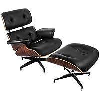 SucceBuy Fauteuil Lounge avec Repose-Pieds 7 Couches De Placage Chaise Longue Capacité De 330lbs Chaise avec Pied (Longue Fauteuil)