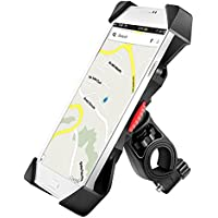Anti-vibrations Support de Vélo Moto Téléphone Fall Prevention Guidon de Vélo Moto Berceau Collier Avec Rotation 360 Pour 3,5 à 6,3 pouces GPS pour Smartphones Autres Appareils (Universel)