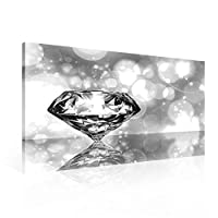 Shiny Diamond Canvas Print - Photo Print - O1 - 100cm x 75cm - Premium 260gsm Canvas, Hand-Finished, Solid MDF Frame - 2.6cm Thick - Integrated Hanging Hook - Abstract and Art Collection - (PP1570O1)