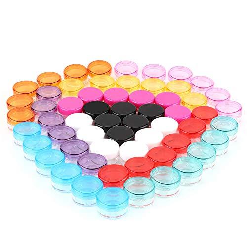 60 Stück Döschen Creme Behälter Kosmetikbehälter, mit Deckel Schraubverschluss, Mini Leer Dosen für Creme Lippenbalsam Proben Makeup Pulver, 5ml, 10 Farben