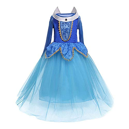 RBHSG 4 7 8 9 10 Years ELSA Dress Children Role-Play Costume Princess Cinderella Girls Ball Gown Party Christmas Cosplay Vestido Blue Multi 5