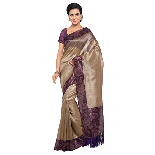 Rajnandini Women's Tussar Silk Printed Saree(JOPLNB3016A_Beige And Purple_Free Size)