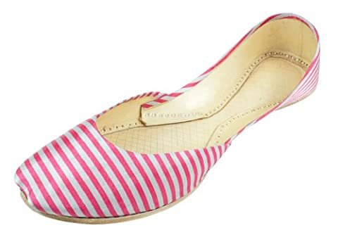 Womens Casual-Pink & White Stripes Pattern-Leather-Khussa-Shoes 5uk