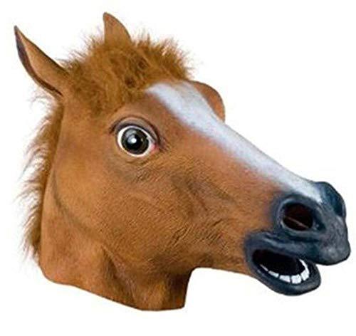 Streich Kostüm Tier - AMSIXP Maske Pferd Maske Halloween Pferd Kopf Maske Latex Gruselige Tier Kostüm Theater Streich Verrückte Partymaske