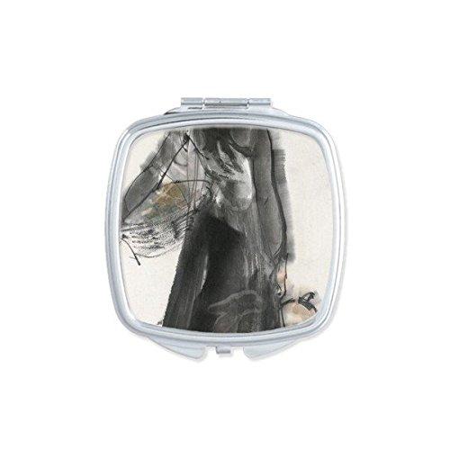 DIYthinker Frau Hinter den Kulissen Pot Gourd Classical Chinese Ink-Wasch Malerei Platz Compact Make-up Taschenspiegel Tragbare nette kleine Hand Spiegel Geschenk (Platz Töpfe Net)