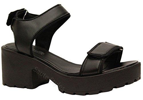 Mesdames Mid Sangle Cheville Talons Hauts Fête bretelles femmes Summer Sandales Chaussures Taille Noir - Black Faux Leather 2-Part Cleated Sandals