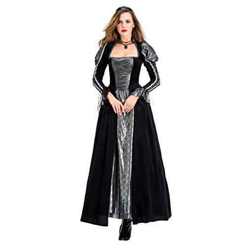 Krankenschwester Quinn Harley Kostüm - Sloater Mittelalter Kleid, Retro Kleid Damen Kostüm Halloween Königin Vampirin Flare Hülse Trompetenärmel mit Quadratischem Kragen Kleid Schwarz Nähen Rock