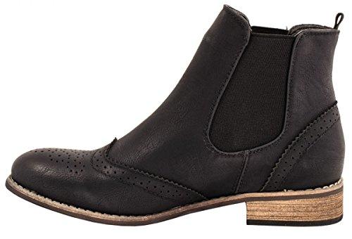 Elara Chelsea Boots | Bequeme Damen Stiefeletten | Lederoptik Blockabsatz |chunkyrayan Schwarz Bremen