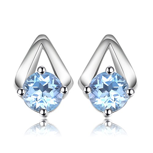JewelryPalace Fashion 1.2ct Echtes Himmel Blau Topas Ohrstecker 925 Sterling Silber