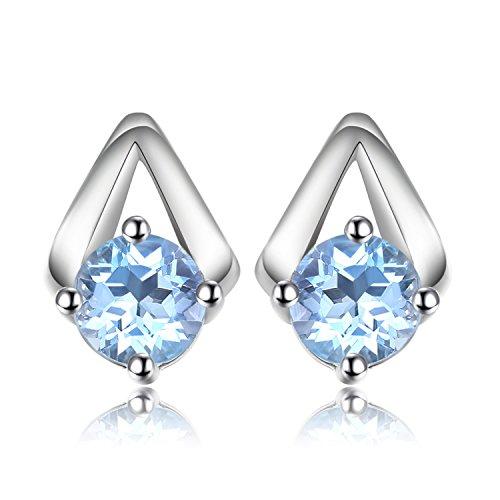 JewelryPalace Moda 1.2ct Azzurro Naturale Topazio Orecchini Argento 925