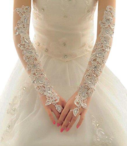 Elegante Hochzeits-Handschuhe Braut-Brautpartei-Kleid-Spitze-Handschuhe-07
