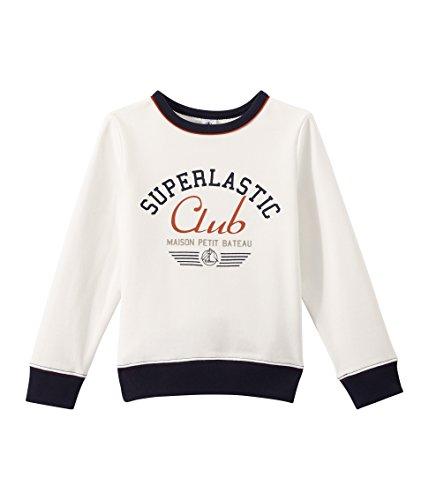 Petit Bateau Jungen Sweatshirt Sweat Shirt 27973, Weiß (Marshmallow 88), 128 (Herstellergröße: 8ans/128cm) (Petite Jumper)