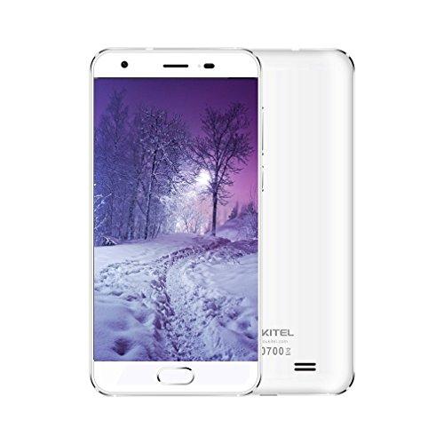 OUKITEL K4000 Plus 4G Smartphone Ohne Vertrag 5.0 Zoll 2.5D 9H Asahi Glas Anzeige Android 6.0 4100mAh Akku MT6737 Quad Core Dual SIM 2GB RAM+16GB ROM OTG 8MP Kamera Fingerabdrucksensor(Weiß)