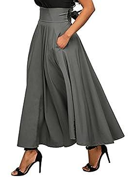 iBaste Falda Largas Vintage Mujer Alta Cintura la Altura del Tobillo Enaguas Plisada Enaguas Bolsillos laterales...