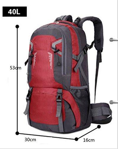 LQABW Outdoor-Freizeit 40L60L Schulter Wasserdichte Große Kapazitäts-Reisen Mountaineering Oxford Tuch Breath Klettern Rucksack Tasche Red
