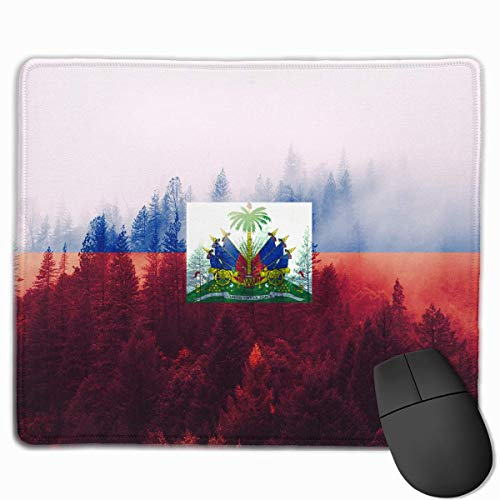 Haiti Flag with Forest Mouse Gaming Mouse Pad Non-Slip Smooth Desk Mat Washable Material 7.1 x 8.7 Inches(18x22CM)