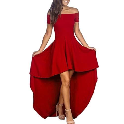 Kleid Sannysis Elegante Damen Kurzarm Schulterfreies Kleid als Abendkleid Partykleid Brautjungfer Hochzeit Maxikleid