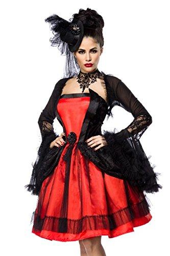Kostüm Hut Bolero - Hochwertiges Vampir Kostümset - Karneval Komplettset mit Kleid,Bolero,Hut Gr. S - XL (80043) (S)