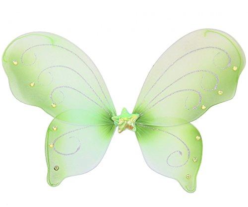 e Schmetterlingsflügel für Mädchen | Feenflügel grün Tier Feen Flügel Fee Elfenflügel Mädchen Elfen Elf Zubehör Schmetterling Fasching Party Kostüm Mädchenkostüm Tierkostüm (Niedliche Mädchen Elfen Kostüm)