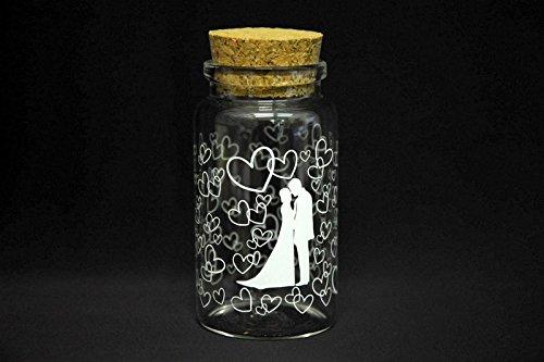 Takestop set 12 pezzi bomboniera bomboniere ampolla 3x6cm vetro cuori tappo sughero portaconfetti porta confetti riso matrimonio wedding