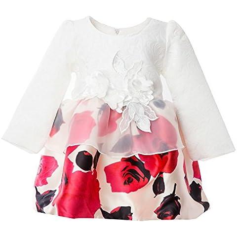 Newill Vestido de Princesa Estampado Floral Rosa con Mangas Largas para Niña 3-4 años