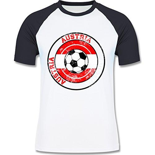 EM 2016 - Frankreich - Austria Kreis & Fußball Vintage - zweifarbiges Baseballshirt für Männer Weiß/Navy Blau