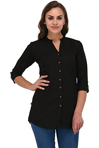 Pistaa women's Yellow Solid Cotton Short Top Kurti (Z Black, 36 -...