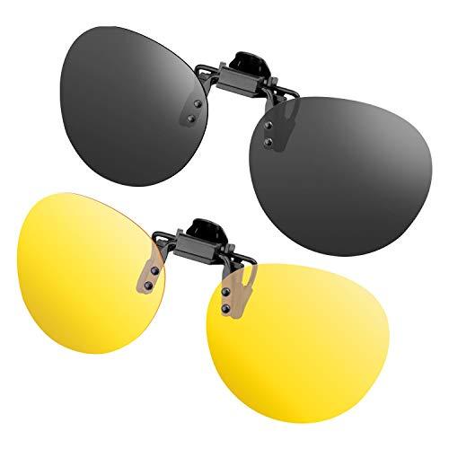 Splaks Sonnenbrile Aufsatz 2-Stück Clip on Polarisiert Flip up Sunglasses gegen Licht ideal für Nachtfahr Frauen Männer Brillenträger Rund Linsen - Schwarz + Gelb