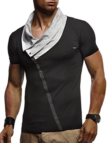 df58209bdfd0 LEIF NELSON Herren Sportshirt T-Shirt Hoodie Sweatshirt Crew Neck  Rundkragen Kurzarm Longsleeve modern Basic